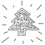 Merry Christmas background with hand lettering and christmas tre
