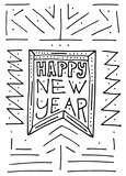 Happy New Year background with hand lettering and flag.