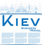 Outline Kiev skyline with blue landmarks and copy space.