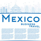 Outline Mexico skyline with blue landmarks and copy space.