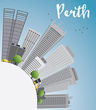 Perth skyline with grey buildings, blue sky and copy space.