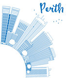 Outline Perth skyline with blue buildings and copy space.