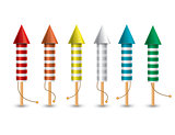 Set of isolated pyrotechnic rockets on white background.