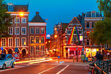 Night city view of Amsterdam street