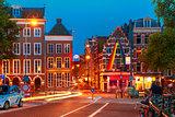 Night city view of Amsterdam street