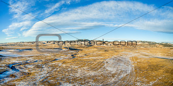 aerial panorama of Colorado foothills