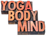 yoga, body, mind word abstract