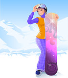 Girl and snowboarding. Winter sport