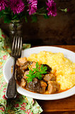 Pork and Mushroom Stew with Polenta, vintage effect, copy space