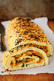 Potato Roll with Vegetable Filling, copy space for your text