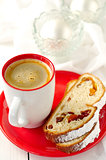 A Cup of Coffee with Slices of Christmas Stollen