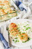 Chicken Patties Baked with Sour Cream Sauce, Served with Rice