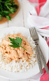 Creamy Tomato Chicken on Rice