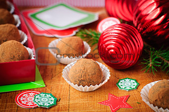 Christmas Chocolate Truffles in a Gift Box