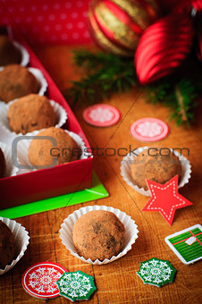 Christmas Chocolate Truffles in a Gift Box, Christmas Decoration