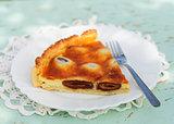 A piece of Italian date and mascarpone tart