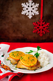 Spiced Orange Roast Chicken with Rice, Christmas Atmosphere, sel