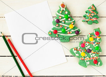 A Piece Of Blank Paper and Christmas Tree Cookies