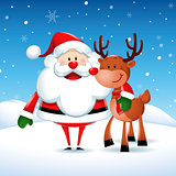 Santa Claus with his friend reindeer in Christmas snow scene