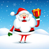 Santa Claus happy holding a gift box in Christmas snow scene