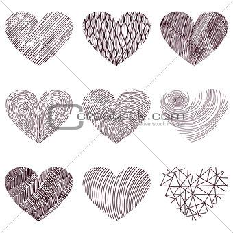 9 vector funky hearts