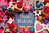 ornaments and text buon natale, merry christmas in italian