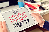 text office holiday party on a tablet