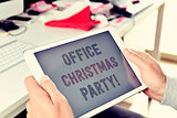 text office christmas party on a tablet