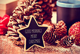 text good morning merry christmas in a star-shaped blackboard