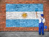 House painter paints flag of Argentina