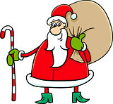 santa with sack and cane
