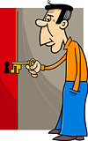 man with key cartoon