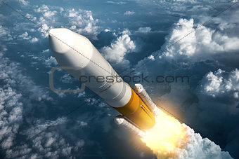 Cargo Launch Rocket Takes Off