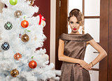 beauty lady in party christmas dress