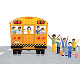 School bus with schoolchildren