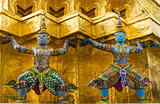 Demon Statues in Wat Phra Kaew temple, Bangkok, Thailand