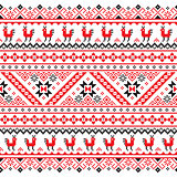 Ukrainian, Belarusian red and black embroidery seamless pattern - Vyshyvanka