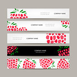 Banners template, raspberry design