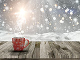 3D Christmas mug on a Wwoden table with snowy scene