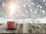 3D Christmas mug on a Wwoden table with snowy scene