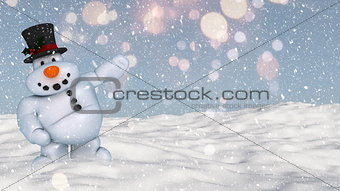 3D snowman in a snowy ground background
