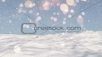3D snowy ground background