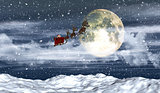 3D snowy landscape with Santa flying in front of the moon