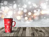 3D snowy scene with Christmas mug