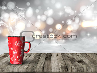3D snowy scene with Christmas mug