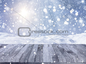 3D wooden table with snowy scene