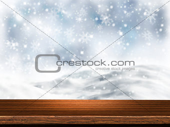 3D wooden table with snowy background
