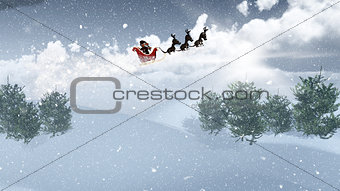3D Santa and his sleigh flying over a snowy landscape