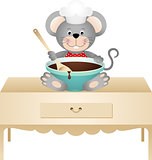 Cook mouse with bowl of chocolate