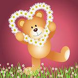 Teddy bear with daisy shape of a heart background